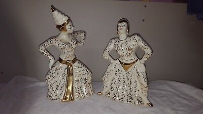 Vintage Female & Male Traditional Dress Siam Thai Dancer Figurine Statue Pottery