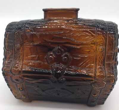 Vintage Amber Glass Treasure Chest Coin Still Bank