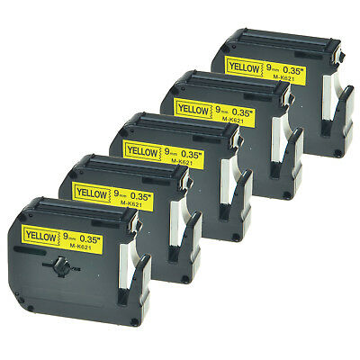 5 PK MK621 M-K621 9mm Black on Yellow Lable Tape for Brother P-Touch 65VP 70BMH