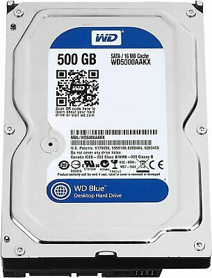 "Western Digital Caviar Blue 500 GB 3.5"" Internal Hard Drive SATA -WD5000AAKX"