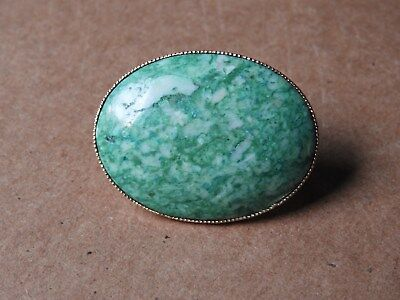 Vintage Gold-Tone Green Oval Stone Scarf Holder