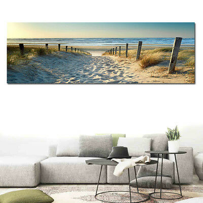 Ocean Beach Nature Landscape Picture Canvas Oil Painting Wall Art Decor 50*150cm