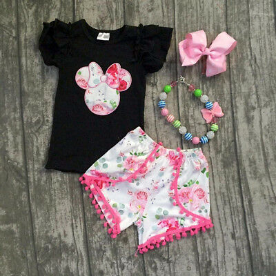 AU Kids Baby Girls Ruffle Minnie Mouse Top T-shirt + Shorts Outfit Set Clothes