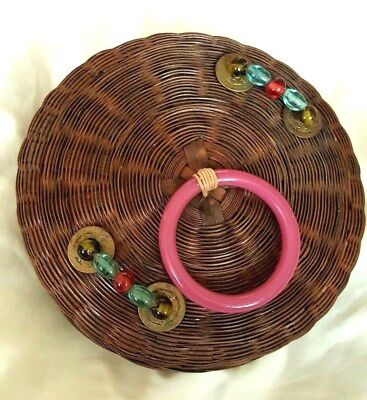 VTG Antique Chinese Peking Glass Beads Coins Wicker Sewing Basket 1920s