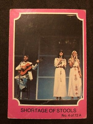 Scanlens 1976 Pink ABBA Card #4 Shortage Of Stools