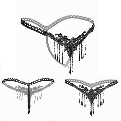 Crotchless Underwear Tassels Thongs Panties Pearl Lace G-string Open Crotch
