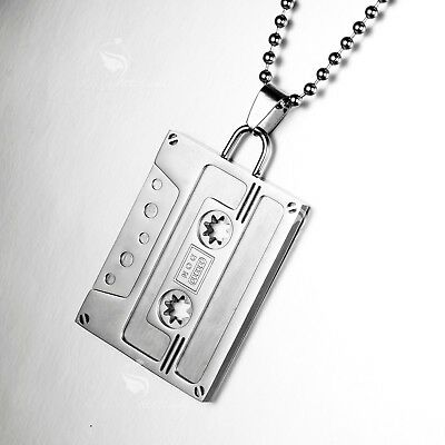"Silver Stainless Steel Music Cassette Tape Pendant 24"" Ball Chain Necklace"