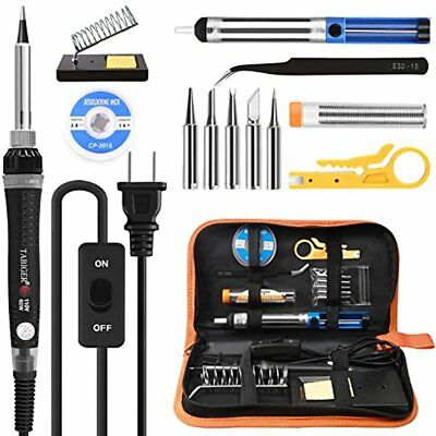 Tabiger Soldering Iron Kit Adjustable Temp 200-450C ON/OFF Switch, 60W Tips,