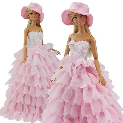 Beautiful Pink Wedding Party Dress Clothes Grows w/ Hat for 11inch Doll Toy Gift