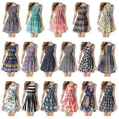 Summer Womens Chiffon Sleeveless Party Sundress Casual Short Mini Beach Dresses