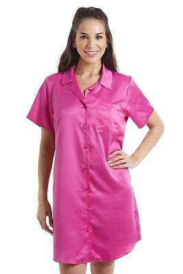 Camille Womens Luxurious Knee Length Pink Satin Nightshirt Nighty