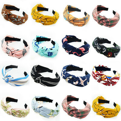 Women Knot Hairbands Headbands Girl Floral Print Wide Hair Band Hair Accessories