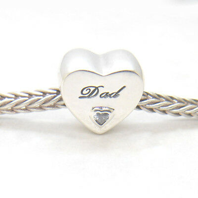 Authentic Sterling Silver Dad's Love Dad Heart Charm Clear CZ, Father's Day Gift