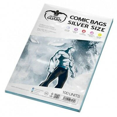 Ultimate Guard Pack 100 Pockets Comics Silver Size 181x268 mm Comic Bags 71656
