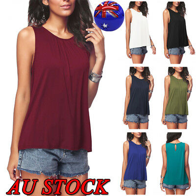 AU Plus Size Womens Plain Vest Beach Loose Tank Top Sleeveless T-Shirt 7 Colols
