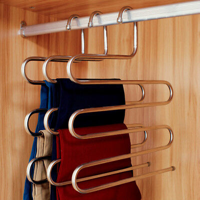 S Type Closet Organizer Pants Coat Hangers Clothes Tie 5 Layer Rack Space Saving