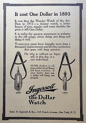"1915 Ad(G1)~Ingersoll Watch Co. ""the Dollar Watch"""