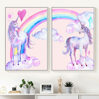 Pink Unicorn Rainbow Canvas Poster Art Print Kid Children Living Room Decoration