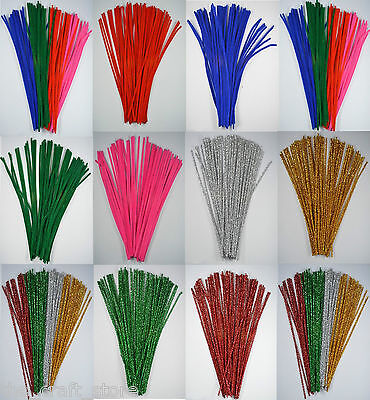 "100 CHENILLE CRAFT STEMS - PIPE CLEANERS - 12"" LONG (30cm) - CRAFTS MODEL MAKING"