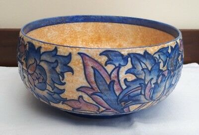 Crown Ducal CHARLOTTE RHEAD Tube Lined Bowl - Blue Pink Peony Pattern 4016