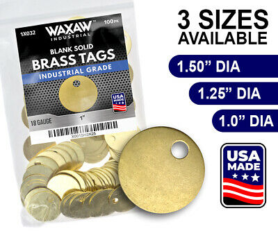 """WAXAW Round Solid Blank Brass ID tags Pets Keys Tools Valves 1"""", 1-1/4"""", 1-1/2"""""""