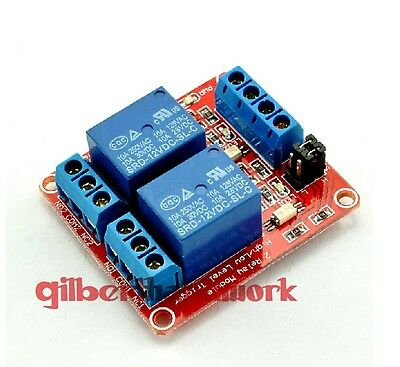 12V 2-Channel Relay Module With Optocoupler High Low Level Triger Components