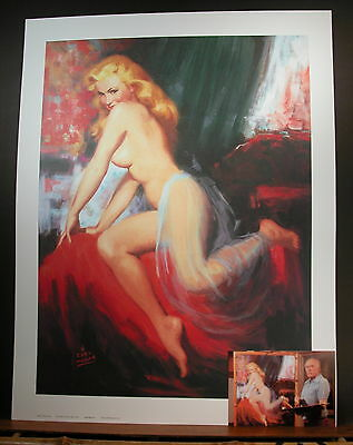 Earl Moran Marilyn Enticing Pinup & Postcard with Earl & Painting