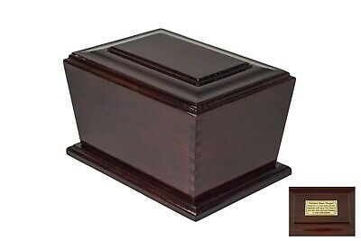 Human Casket Urn for Ashes Wooden brass Personalised Inscription Memorial