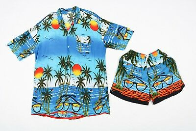80s Vintage Two-Piece Hawaiian Matching Shirt + Shorts | Hawaii Swimming Trunks