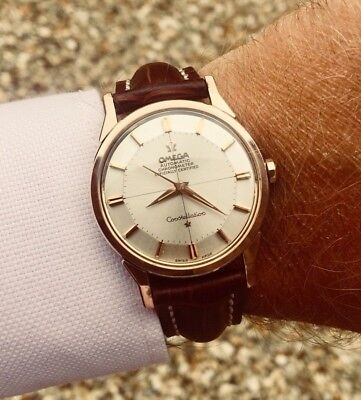 Vintage Omega Automatic Pie Pan Cal 551 Mens 1960 Rose Pink Gold Mens Watch Box