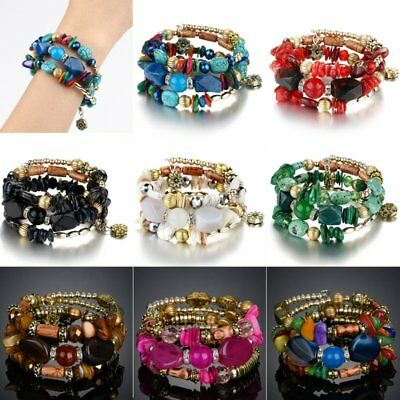 Multilayer Natural Stone Crystal Bangle Women Party Beaded Bracelet Jewellery