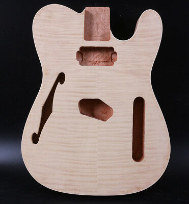 Diy Telecaster Style Electric Guitar Body Mahogany+Flame Maple Veneer Unfinished