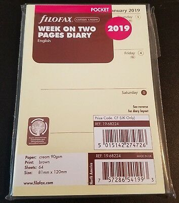 2019 FILOFAX Pocket Week on Two Pages Diary/Calendar - Cotton Cream 19-68224