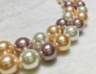 """AAA Natural White PINK Purple 12MM South Sea shell pearl NECKLACE 18 """""""