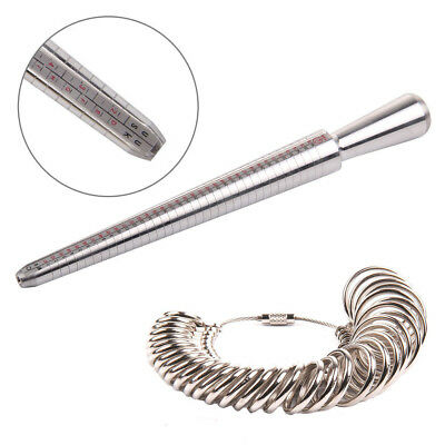 Ring Sizer Stick Mandrel Finger Gauge Jewellery Kit Tool Engagement Metal UKES