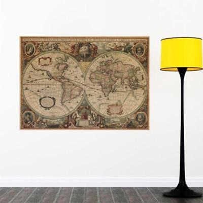 71x50CM OLD FASHIONED STYLE GIANT MAP OF THE WORLD WALL POSTER T