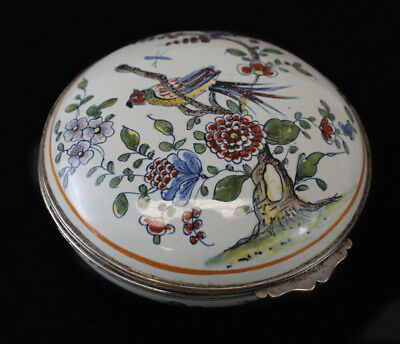 Antique Sinceny French Faience Box c1730 with silver mounts hand painted birds
