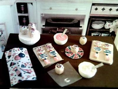 Dollhouse Miniature 4th of July Baking Display Set