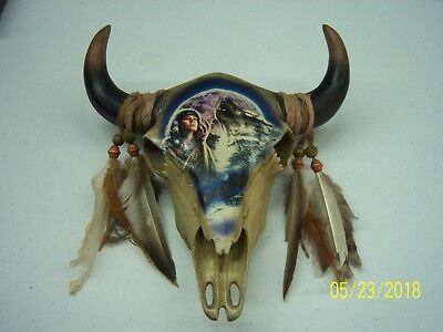 Bison Skull With painting of A Female Indian, Wolf and Moon