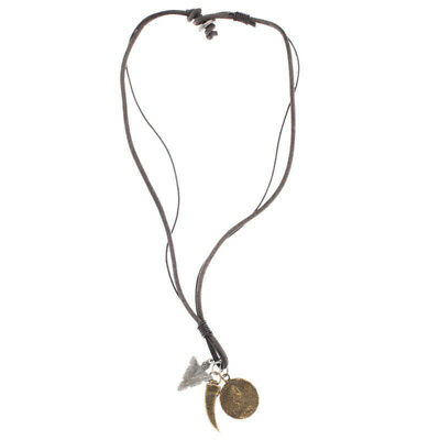 Redemption Arrow Tooth Coin Necklace in Black