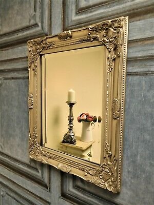 Antique silver French vintage style ornate wall mirror bevelled glass 53cm