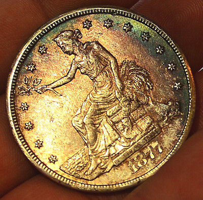 Stunning 1877-CC T$1 US Trade Dollar. toned high grade rare Carson City silver$!
