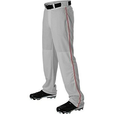 (X-Large, Grey/Scarlet) - Alleson Ahtletic Boys Youth Baseball Pants with Braid