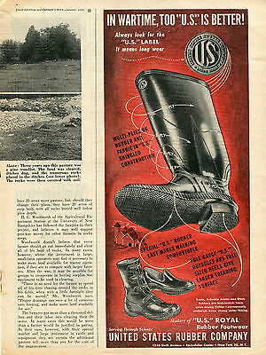 1944 U.S. Label United States Rubber Company WWII Wartime Boot Print Ad