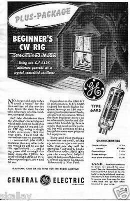 1948 Print Ad of GE General Electric 6AR5 Tube Beginner's CW Rig