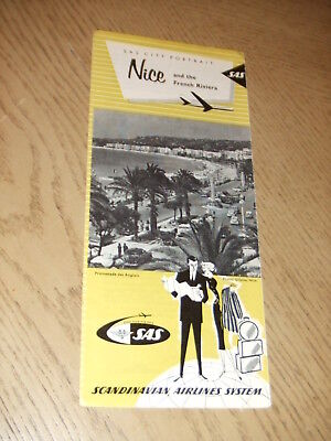 1963 SAS Scandinavian Airlines City Portrait Nice French Riviera Brochure Map FR