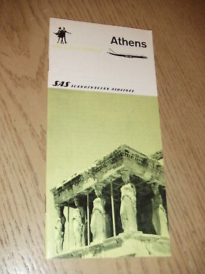 VINTAGE 1968 SAS Scandinavian Airlines City Portrait Athens Greece Booklet Map