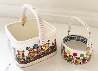 Vintage LUCY & ME Ceramic Bowls Dishes W Handles Bears Multicolor 1981 Small Med