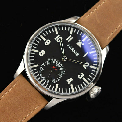 Men's 44mm Parnis Leather Strap 6498-Handwinding Movement Wrist Watch P632 NEW