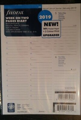 2019 FILOFAX A5 Week on Two Pages Diary with Appointments- 5 Language - 19-68514